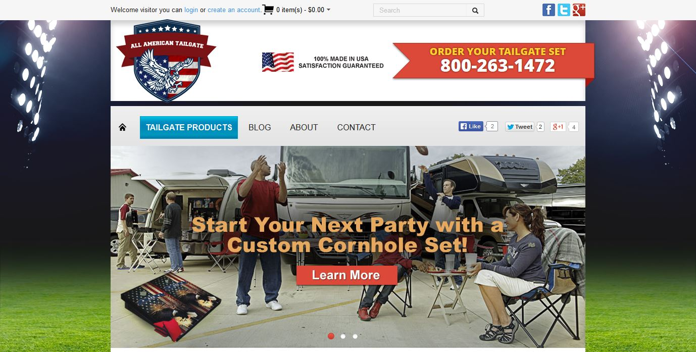 AllAmericanTailgate.com Home Page Screenshot