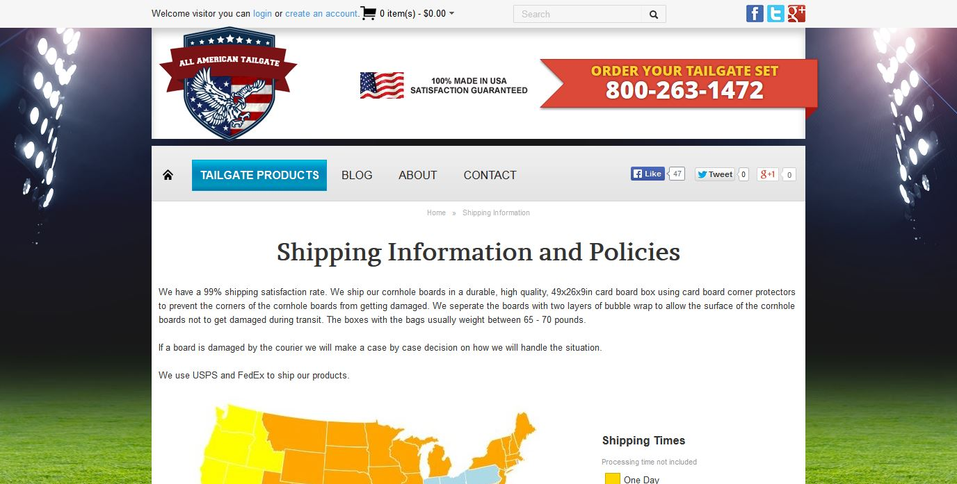 AllAmericanTailgate.com Shipping Information Screenshot